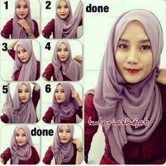 New how to wear hijab ideas tutorials head wraps ideas Square Hijab Tutorial, Simple Hijab Tutorial, Hijab Style Tutorial, Muslim Fashion, Hijab Fashion, Modest Fashion, How To Wear Hijab, Turban Hijab, Cara Hijab