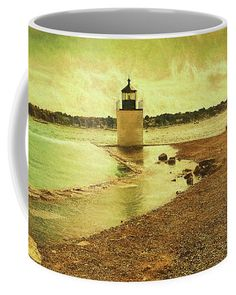 High Tide at Derby Lighthouse Coffee Mug by Jeff Folger. Mugs For Sale, High Tide, Crests, Global Warming, Lighthouses, Pilots, Full Moon, Massachusetts, New England