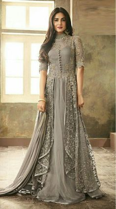 Buy Sonal Chauhan Light Grey Embroidered Anarkali Suit online, SKU Code: This Grey color Party anarkali suit for Women comes with Embroidered Net.Sonal Chauhan Grey Color Net Designer Anarkali Suit Spread the aura of freshness with this grey color ne Eid Dresses, Pakistani Dresses, Bridal Dresses, Evening Dresses, Casual Dresses, Party Dresses, Afternoon Dresses, Flapper Dresses, Dress Party
