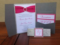 Charcoal and fuchsia pocket folder wedding invitation