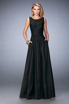 Black #ballgown La Femme - 22446 Sleeveless Taffeta Lace Evening Gown #ad