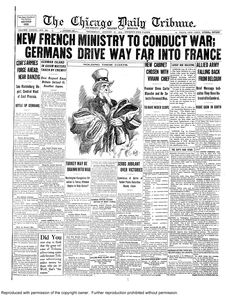 Aug. 27, 1914: New French ministry to conduct war. Germans drive deep into France.