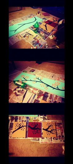 my best friend & i saw this on pinterest: get your canvas and paint a branch, then dip a 2 liter bottom into the paint and make flowers! we used 1 liters for small flowers too!