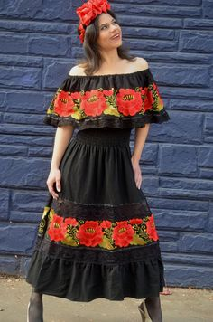 d46b534ba699 Mexican Red Embroidered Dress Off Shoulder Tunic Embroidered Red Flowers  Gorgeous