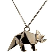 Origami Triceratops Dinosaur Necklace in Sterling Silver, gunmetal, or gold plate