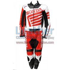 Honda Motorbike Racing Leather Suit for $595.00 - https://www.leathercollection.com/en-we/red-honda-racing-suit.html