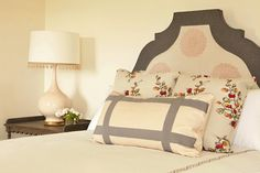 Bonesteel Trout Hall: Pink  and gray girls bedroom with gray and pink Gustavian headboard and pink and gray ...