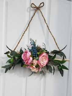 Mini Wreath for Front Door Floral Wreath Triangle Wreath Rustic Door Decor All Season Wreath Spring Wreath Mini wreath for front door ! This is a rare style triangle wreath made on natural wood stick with jute rope.Decorated with faux eucalypt Front Door Decor, Wreaths For Front Door, Front Doors, Terrarium Wedding, Modern Wreath, Rustic Doors, Deco Floral, Rustic Wall Decor, Diy Wreath