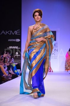 Sarees by (actor) Mandira Bedi https://www.facebook.com/MandiraBediDesigns at Lakme Fashion Week 2014
