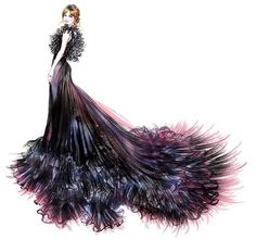 """#Drawing #Fashionillustrasyon !.. #Instagram'da #happySunnyGu  (@happysunnygu): """"@lilyjamesofficial opted for dramatic ruffles by @maisonvalentino for the 75th annual…"""""""