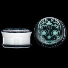 "Pair of 1/2"" (13mm) Single Flared Sugar Skull Glow White Acrylic Plugs"