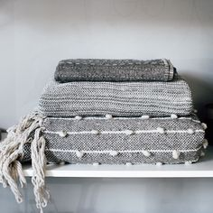 Grey scale of blankets! Mexchic And ByMolle. Grey Scale, Textiles, Color Pallets, Rustic Design, Neutral Colors, Blankets, Layers, Bedrooms, Towel