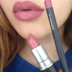 MAC Soar lip liner with MAC Brave lipstick