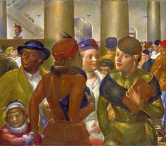 'Bargain Hunters' (1940) by American painter Kenneth Hayes Miller (1876-1952). oil on canvas, 30.875 x 36.125 in. ty, It's About Time. via the Smithsonian
