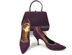 Purple Suede Puccini Stiletto Pumps & Matching Handbag,....  Etsy Treasury › Everything in Purple by thesecretcupboard