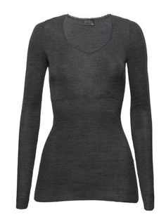 Kvinner Topper Pierre Robert Wool Collection Wool Top Long Sleeve Steel grey melange  str m/l  Fåes kjøpt i matbutiker