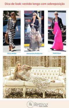 O outono/inverno pede looks estilosos e quentinhos. Invista  nos vestidos longos com sobreposição!