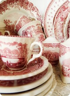 Pantone color for 2015, Marsala - Red Transferware - Bring Marsala to the table!