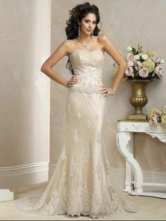 Sheath/Column Sweetheart Chapel train Tulle Wedding Dresses #USARS019