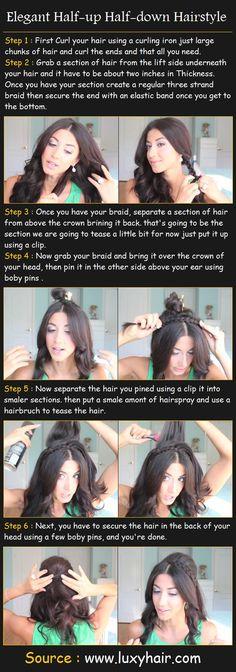 Elegant Half-up Half-down Hairstyle | Beauty Tutorials