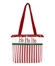 Take a look at this Red Ruffle 'Ho Ho Ho' Tote today! Red Tote Bag, White Tote Bag, Christmas Bags, Christmas Things, Christmas Ideas, White Handbag, White Purses, Reusable Tote Bags, Shoe Bag