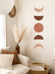 Moon Phases Wall Decal -Hand Drawn Moon Phases, Boho Decor, Crescent Sticker, Modern Decals, Moon Wa