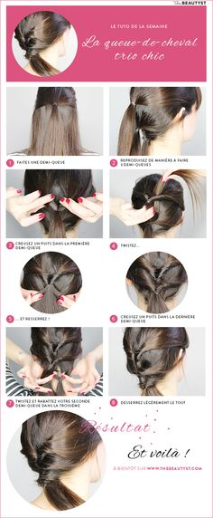 Tuto coiffure : la queue-de-cheval trio chic