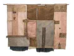 "irini gonou, ""potropaic cloth III"", cotton fabrics, linen, old brodery, reeds, 155X120"