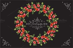 Rose Wreath. Vintage floral frame by Malina on @creativemarket