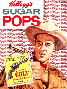 """Corn Pops is a breakfast cereal made by Kellogg's, described by the company as """"crunchy sweetened popped-up corn cereal."""" Originally called Sugar Pops, it was introduced in 1951 as the sponsor for """"The Adventures of Wild Bill Hickok"""" radio show."""
