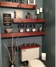 Just 2 Darker Shelves U0026 No Wooden Tank Lid.   22 Ways To Boost And Refresh  Your Bathroom By Adding Wood Accents