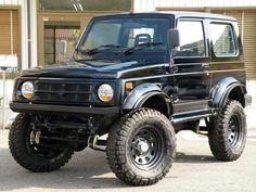 black Jimny! Jimny Sierra, Fuel Saver, Jimny Suzuki, Murdered Out, Car Supplies, 4x4 Off Road, Black Wheels, Men Stuff, Toys For Boys