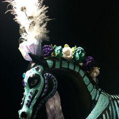 Barbie horse I repainted. #recycledart #roswellnm #newmexico #austin #austintx #horse #skullhorse #diadelosmuertoshorse #dayofthedeadhorse #dayofthedeadart #diadelosmuertosart #sugarskullart #barbiehorse