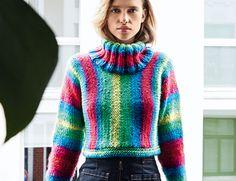 Описание вязания на спицах свитера в вертикальную полоску из журнала «Burda. Вязание» №8/2016