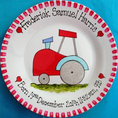 Tractor personalised gift plate for new baby, christening day, baptism, naming day. Hand painted. Available from www.bluebellecreate.co.uk