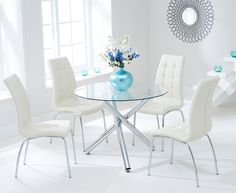 Orino 100cm Glass Dining Table with Calgary Chairs.