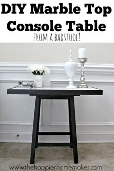 """DIY Marble Top Table From a Bar Stool! - After our recent move I knew we needed a """"drop zone"""" in our foyer. Never one to set my sights low I decided it needed a…"""