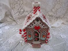 gingerbread house handmade plastic canvas by rivertownvintage, $19.95