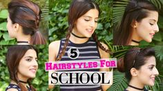 Easy Hairstyles For School Videos Thick Hair - 5 quick & easy 1 min hairstyles for school / college - hairstyles for girls for medium / long hair Easy College Hairstyles, Quick Hairstyles For School, Easy Everyday Hairstyles, Easy Hairstyles For Long Hair, Sweet Hairstyles, Trendy Hairstyles, Girl Hairstyles, Amazing Hairstyles, Hairstyle Ideas