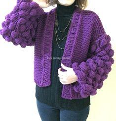 Balon Hırka, Ponçik Hırka, Ahududu Örgü Modeli Hırka Yapılışı Crochet Scarves, Knit Crochet, Cardigans For Women, Hand Knitting, Raspberry, Pullover, Embroidery, Long Hair Styles, Tops