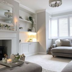 Who says new builds have to be boring and characterless right? this pic was taken by the estate agents of our lounge and I never posted it… Alcove Ideas Living Room, Living Room Decor Cozy, Cottage Living Rooms, Living Room Grey, Living Room Interior, Home Living Room, Front Room Ideas Cosy, Log Burner Living Room, Living Room With Fireplace