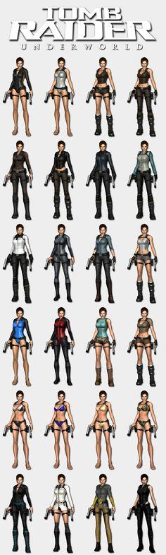 Tomb Raider Underworld - Lara's outfits by HailSatana