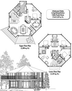 Two-Story Collection TS-0407 (2325 sq. ft.) 4 Bedrooms, 3 Baths by Topsider Homes #houseplan #homedesign
