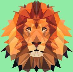 Lion - low poly portrait