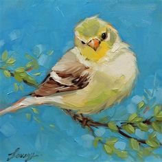 Spring Goldfinch by Lavery Art, 6 x 6 oil painting on panel