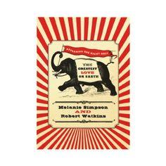 Steampunk Circus Wedding Invitation Red by charmingink