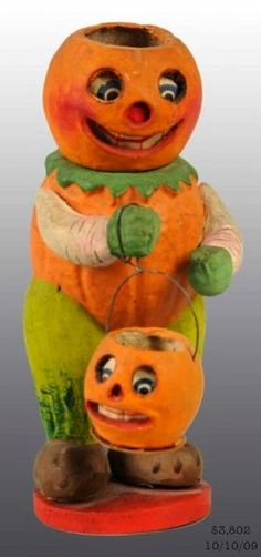 Figural veggie man with JOL head carrying a small JOL, German candy container, 1920's, composition and paper | Morphy Auction, SOLD $3,802, Oct 10, 2009