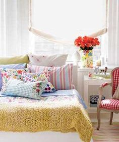 Colorful Summer Bedroom Design With Red Flower Arrangement On White Table And Beautiful Pillow Collections Combined With Tartan Chair Seat Motif Decor: Fresh Rustic Summer Bedroom Decoration Ideas Summer Bedroom, Dream Bedroom, Home Bedroom, Bedroom Decor, Design Bedroom, Pretty Bedroom, Bedroom Ideas, Modern Bedroom, Teen Bedroom