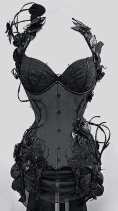 Black rose and vine corset