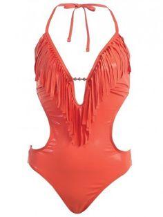 MW Women's Fringe Swimwear Monokini Bikini 1-Piece Swimsuit on cutegirlsclothing.com